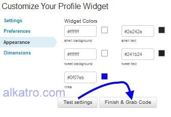 cara memasang widget twitter, contoh setting widget twitter