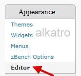 template editor menu