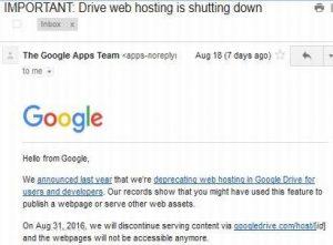 hosting drivegoogle shutdown