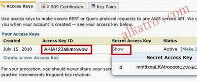 mencari kode public key,private key, kode AWS Key dan AWS Secret Key amazon