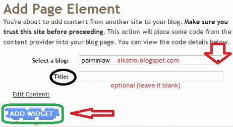 add javascript to blogger widget